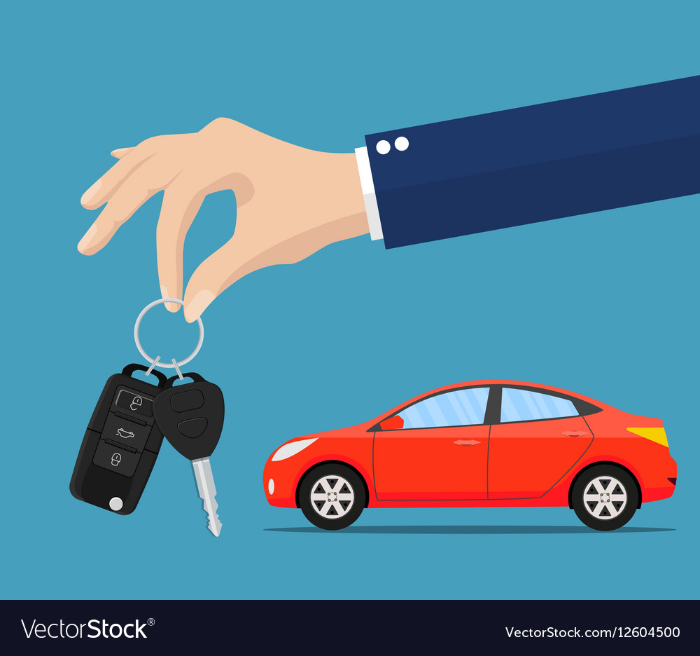 Dealer giving keys chain to a buyer hand
