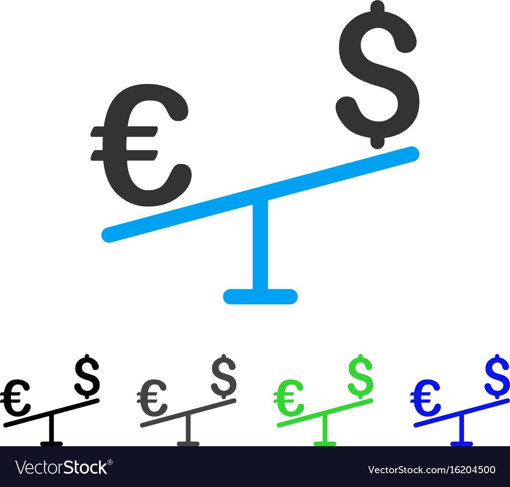 Euro dollar swing flat icon vector image