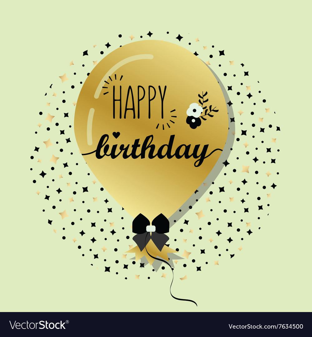 Golden flying helium Happy Birthday balloon card