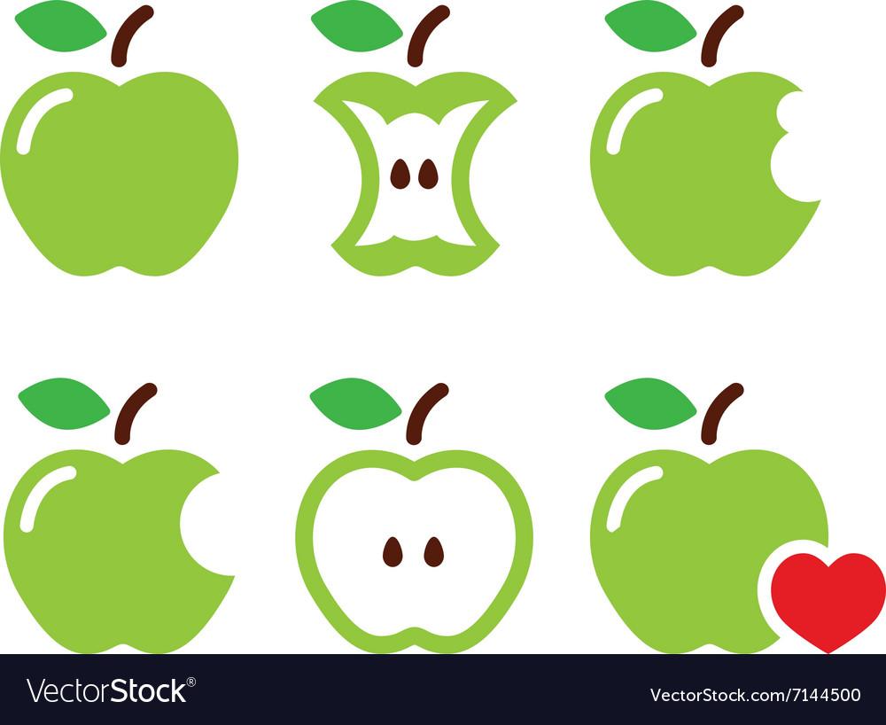 Green apple apple core bitten half icons vector image