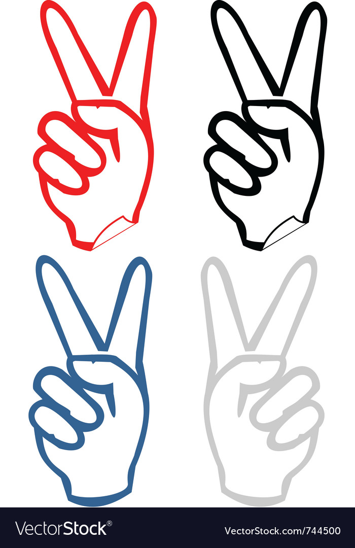 Hand victory sign
