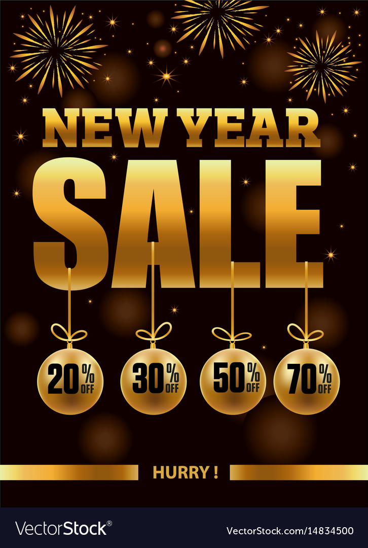 new year sale banner with fireworks vector image