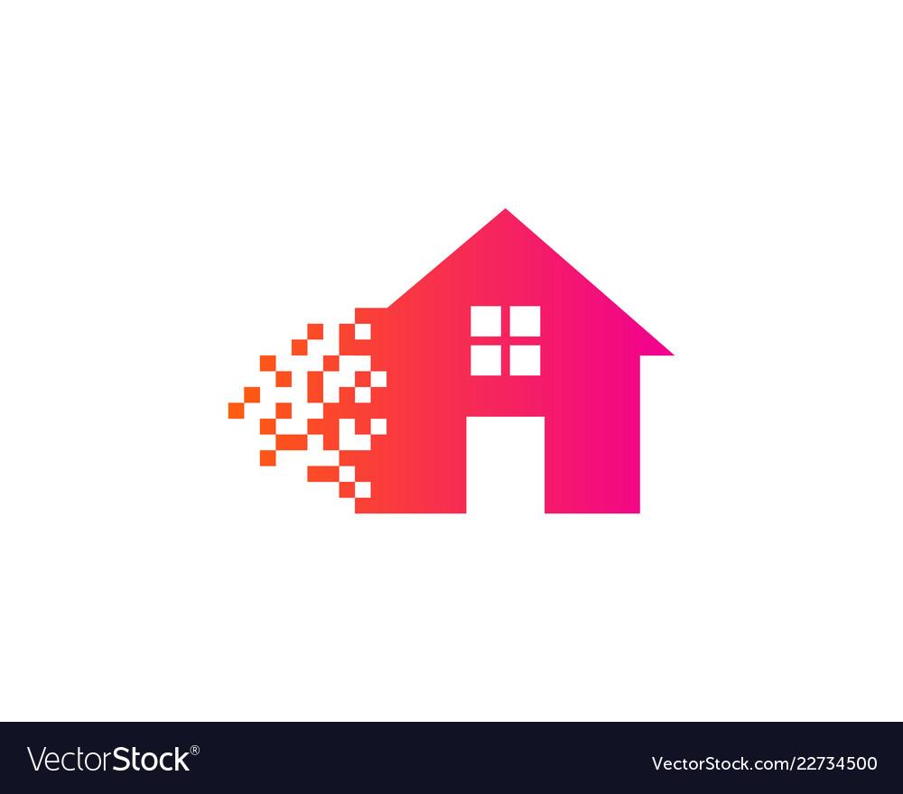 Pixel house logo icon design