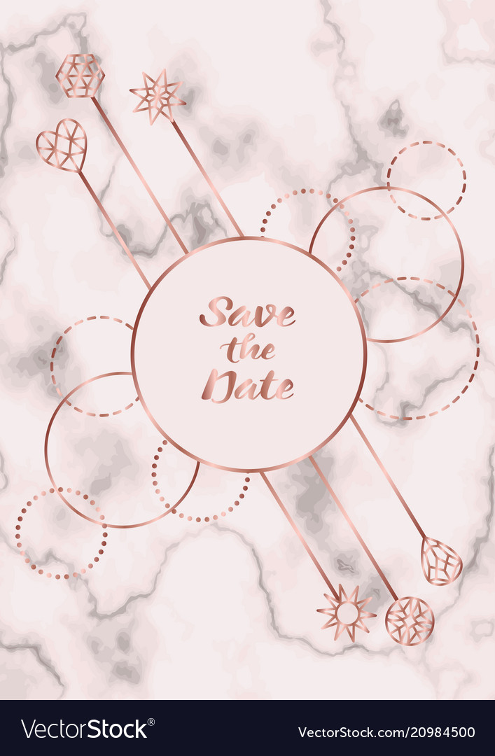 Save the date card with eucalyptus and golden