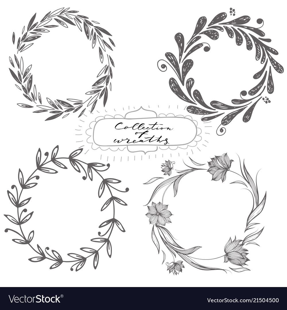 Set of hand drawn wreaths