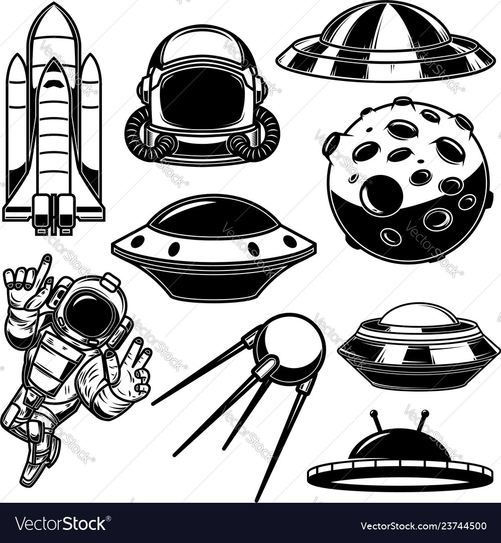 Set of space design elements spaceman shuttle ufo