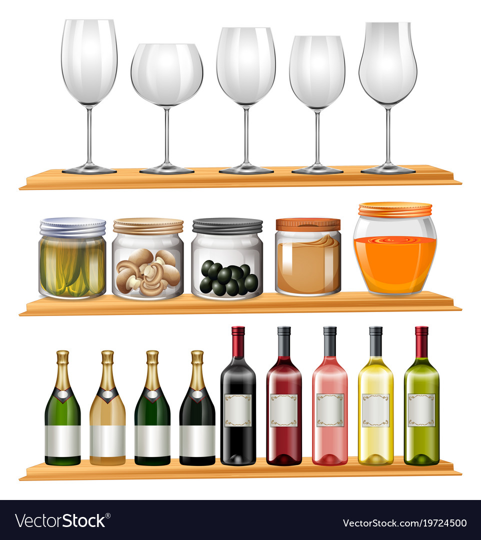 Wine glasses and food on wooden shelves