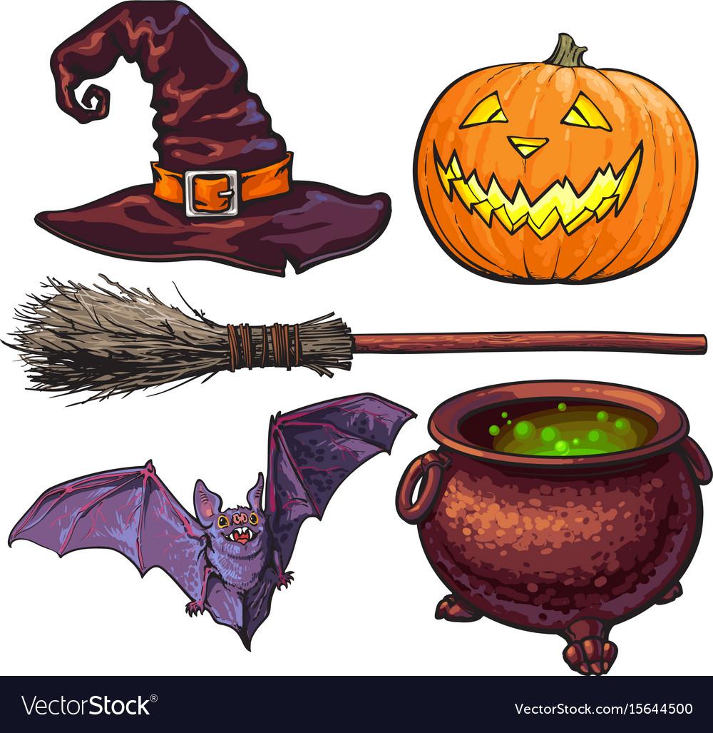 Witch halloween accessories - hat caldron jack Vector Image 850b1d9046d2