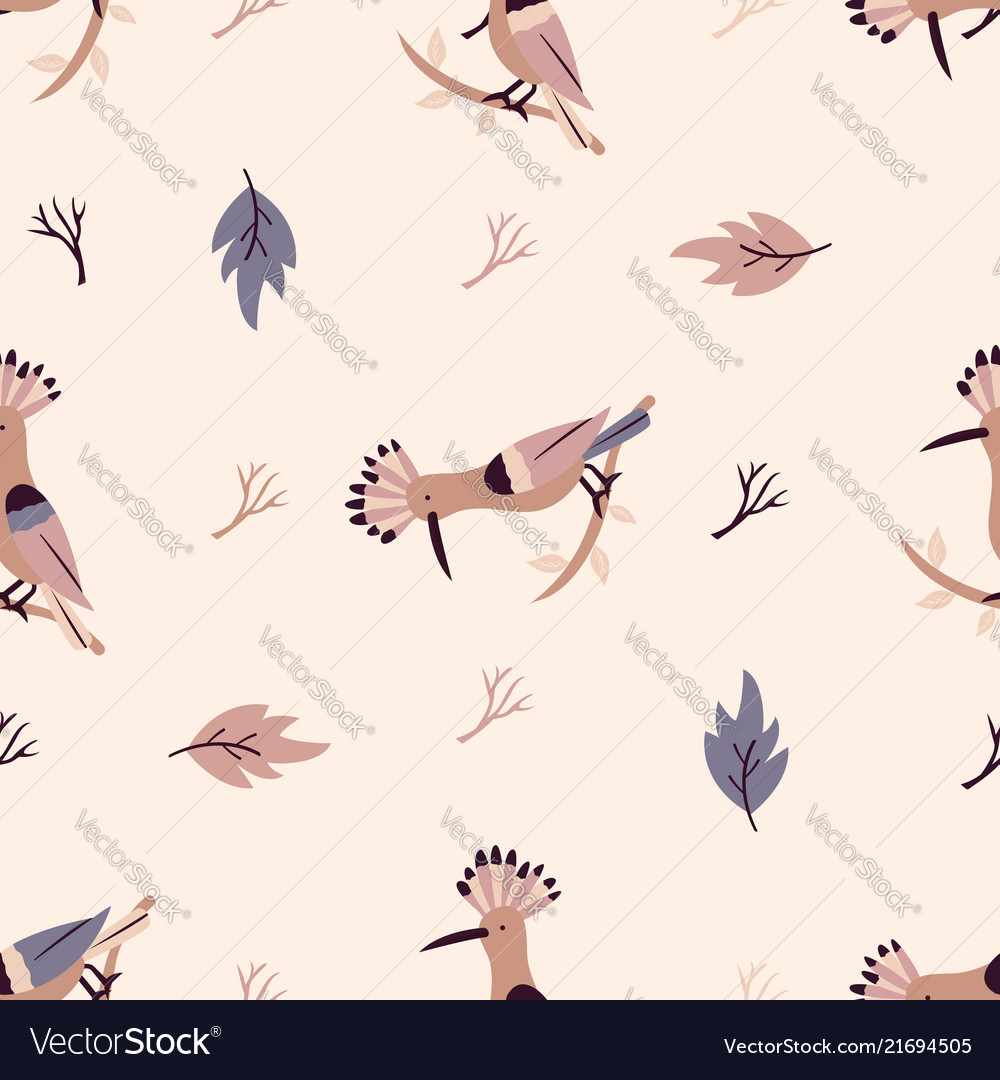 Autumn forest seamless pattern with hoopoes