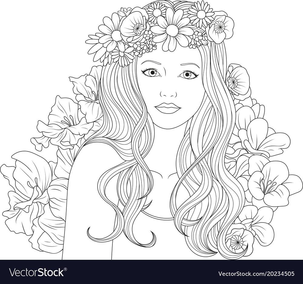coloring pages girl Beautiful girl coloring pages Royalty Free Vector Image coloring pages girl