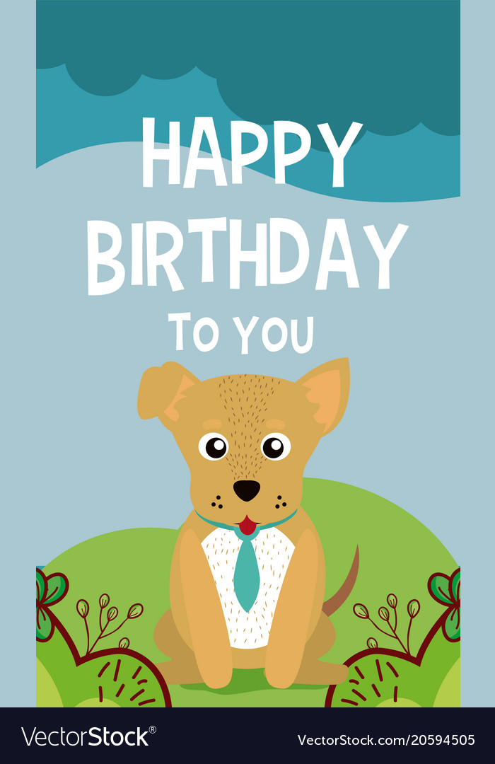 Dog Cute Animal Birthday Card Royalty Free Vector Image