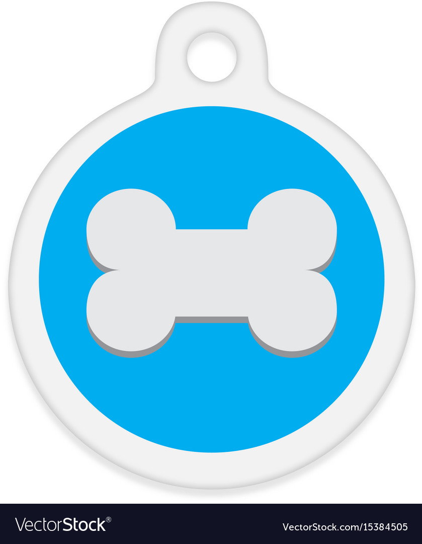 Dog pet tag with bone shaped vector image