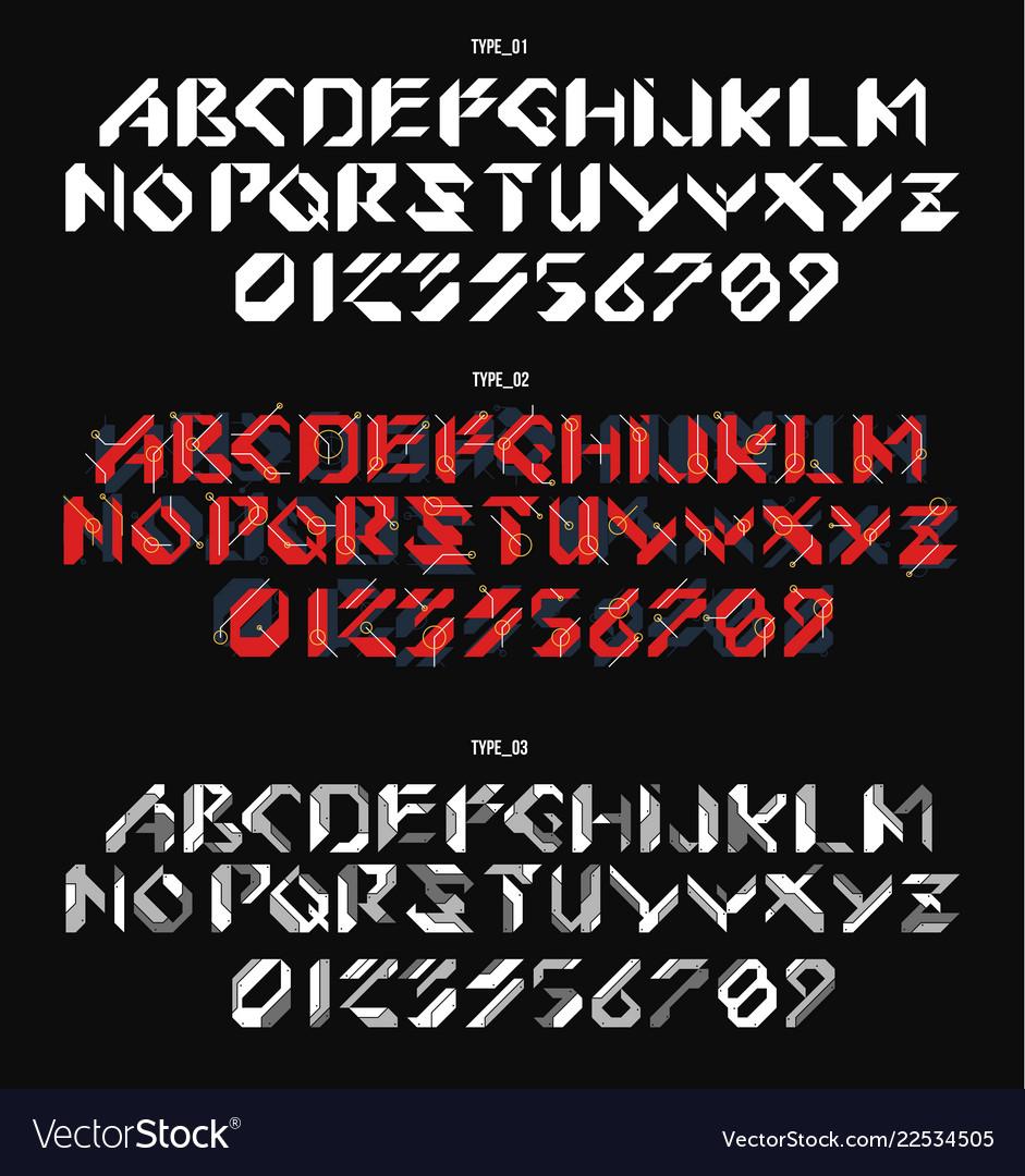 Futuristic font in geometric style conceptual