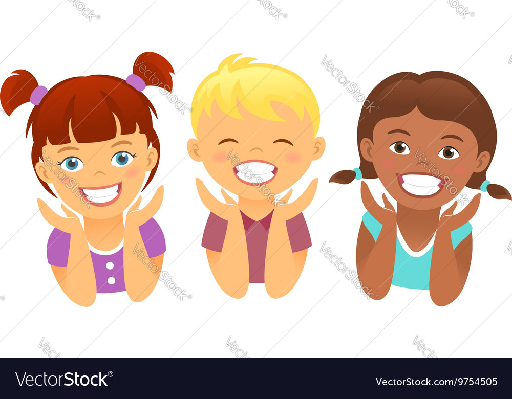 Happy kids with beautiful smile teeth vector image