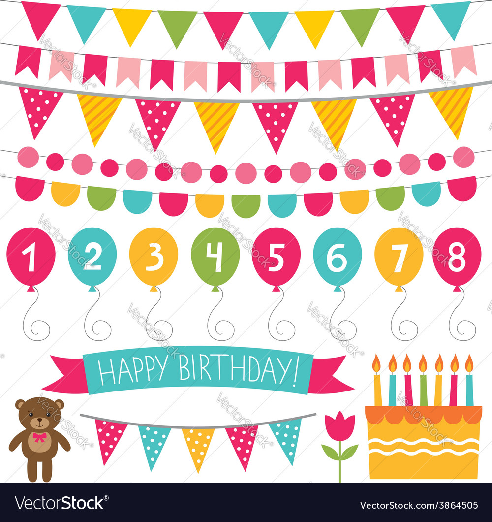Kid birthday party decoration set Royalty Free Vector Image
