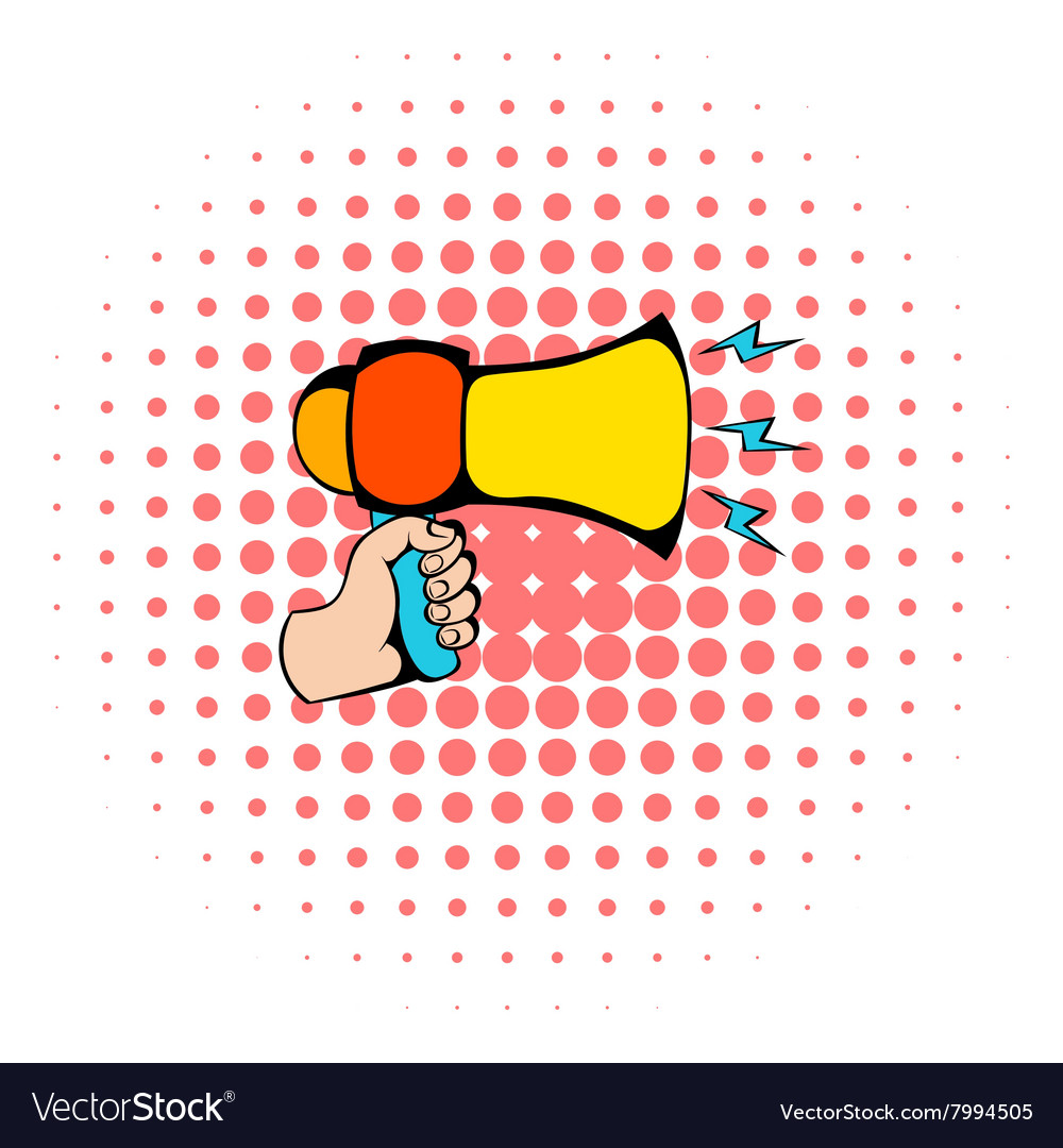 Male hand holding loudspeaker icon comics style vector image