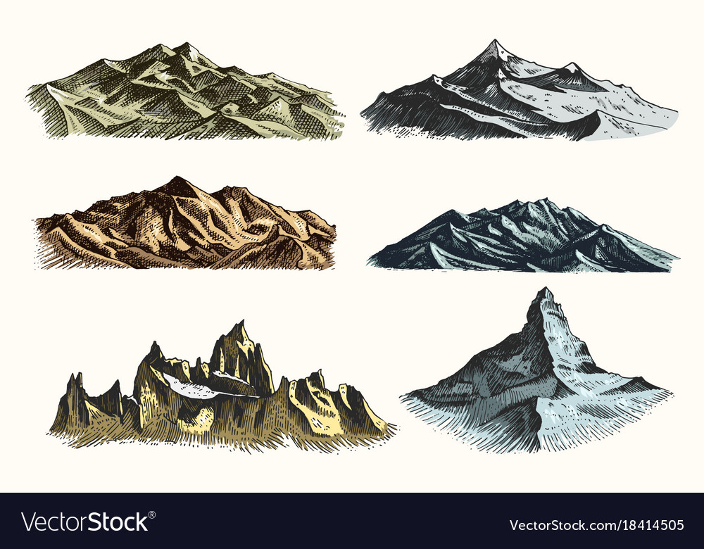 Mountains peaks set vintage old engraving in hand vector image