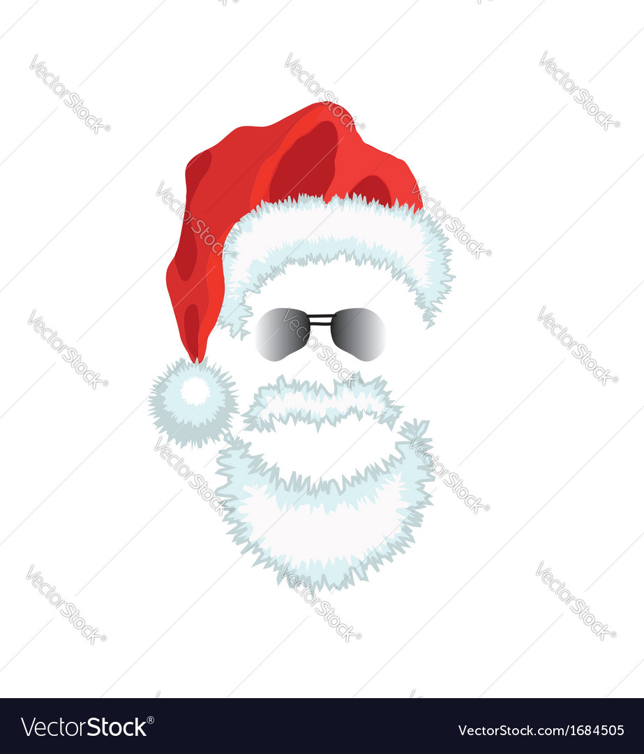 Red Santa Claus Hat beard and glasses Royalty Free Vector 67aec399099