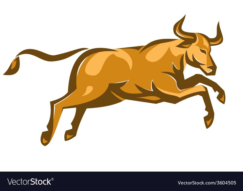 Texas longhorn bull jumping side retro
