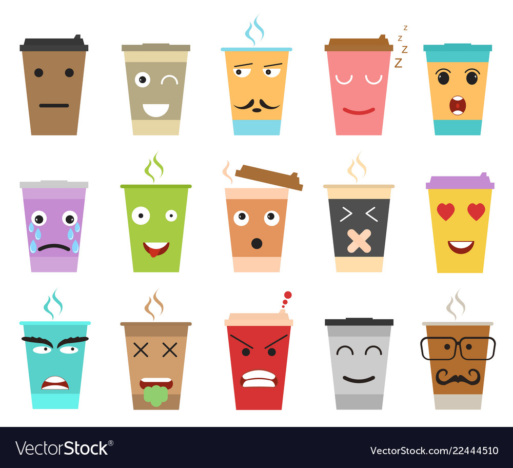 Cartoon color cup coffee or tea characters set