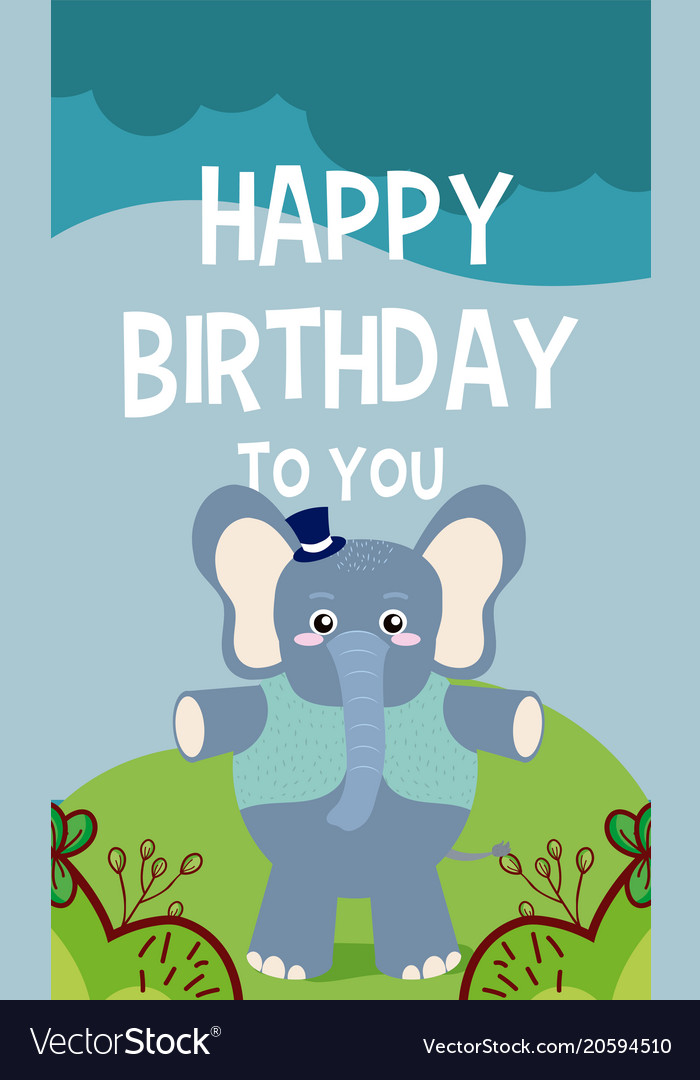 Elephant Cute Animal Birthday Card Royalty Free Vector Image