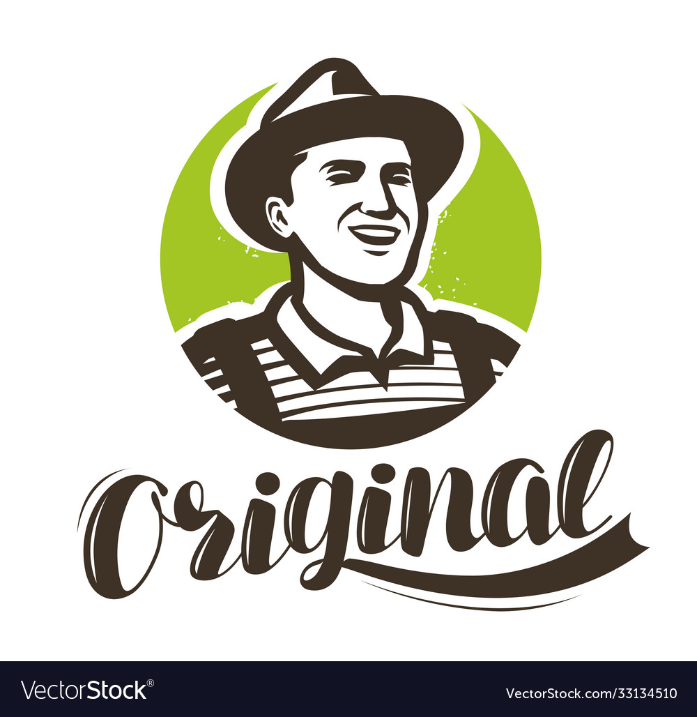 Happy farmer with hat logo agriculture farming