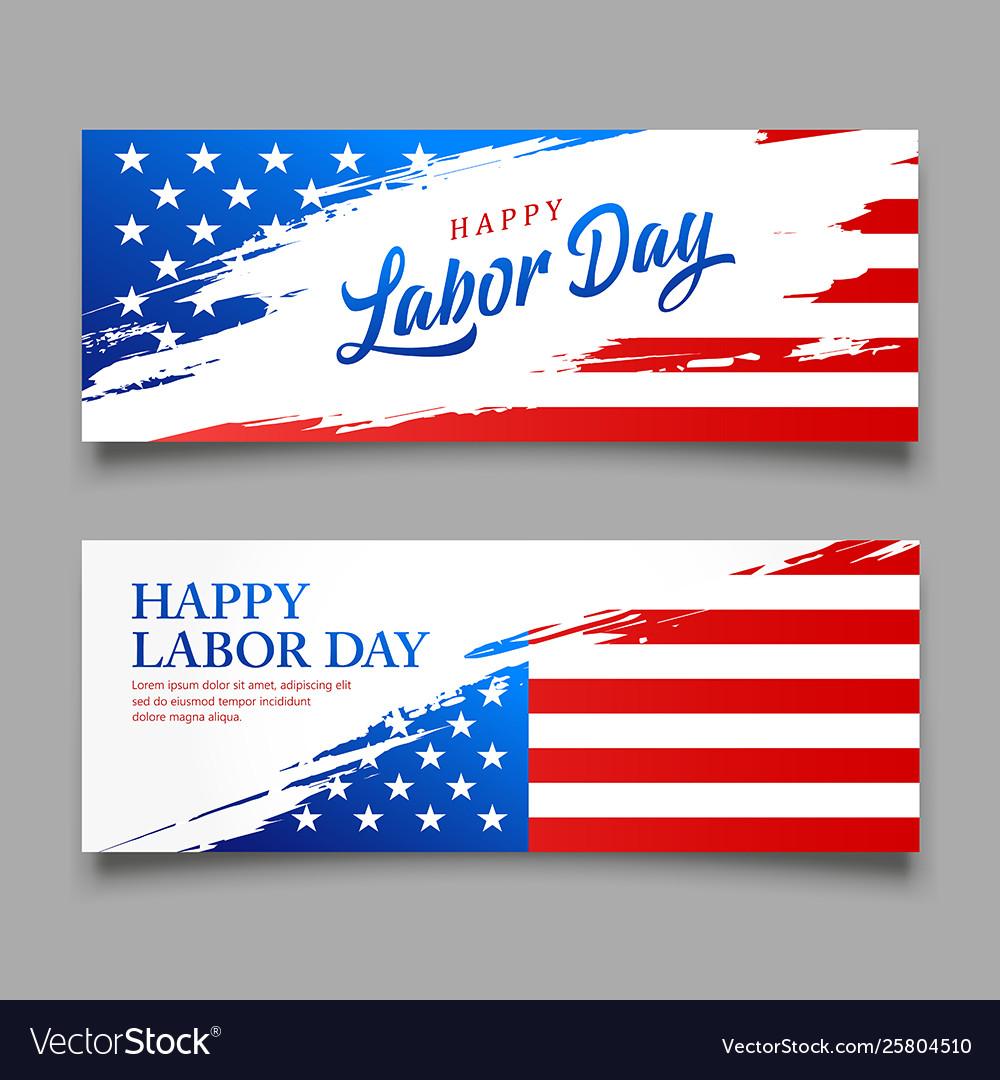 Happy labor day flag usa brush style