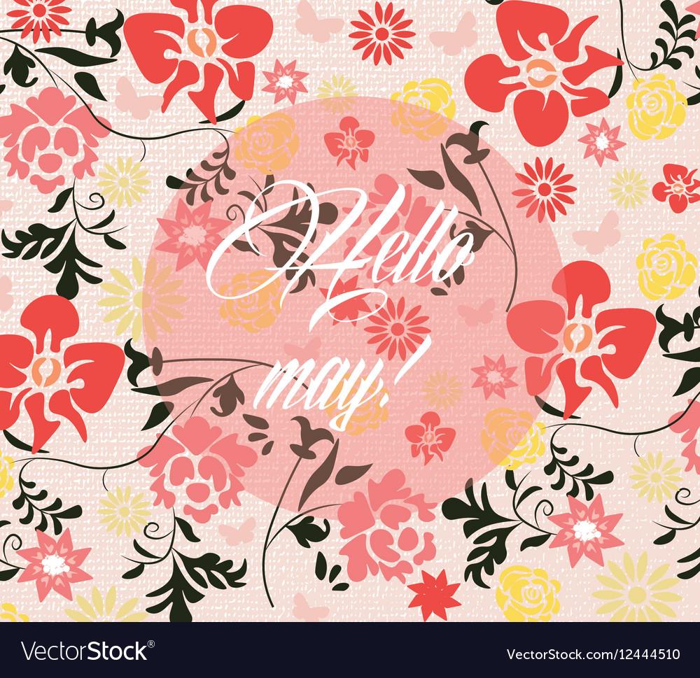 Hello Spring May card vector image