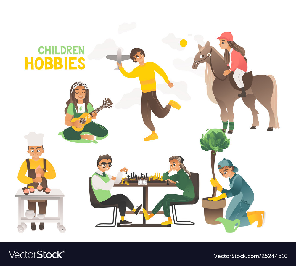 Hobbies children and teenagers happy childhood