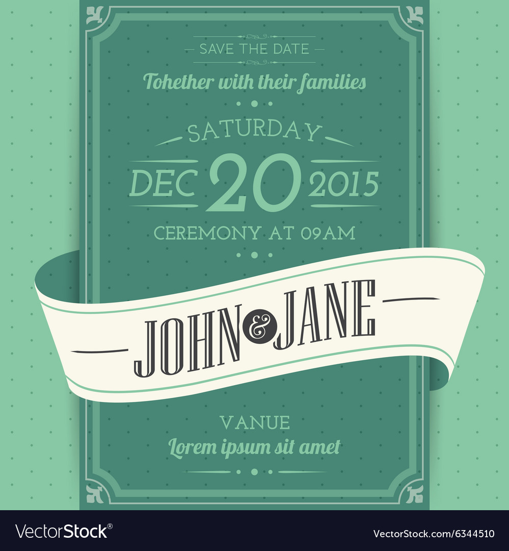 Invitation cards in an vintage style green
