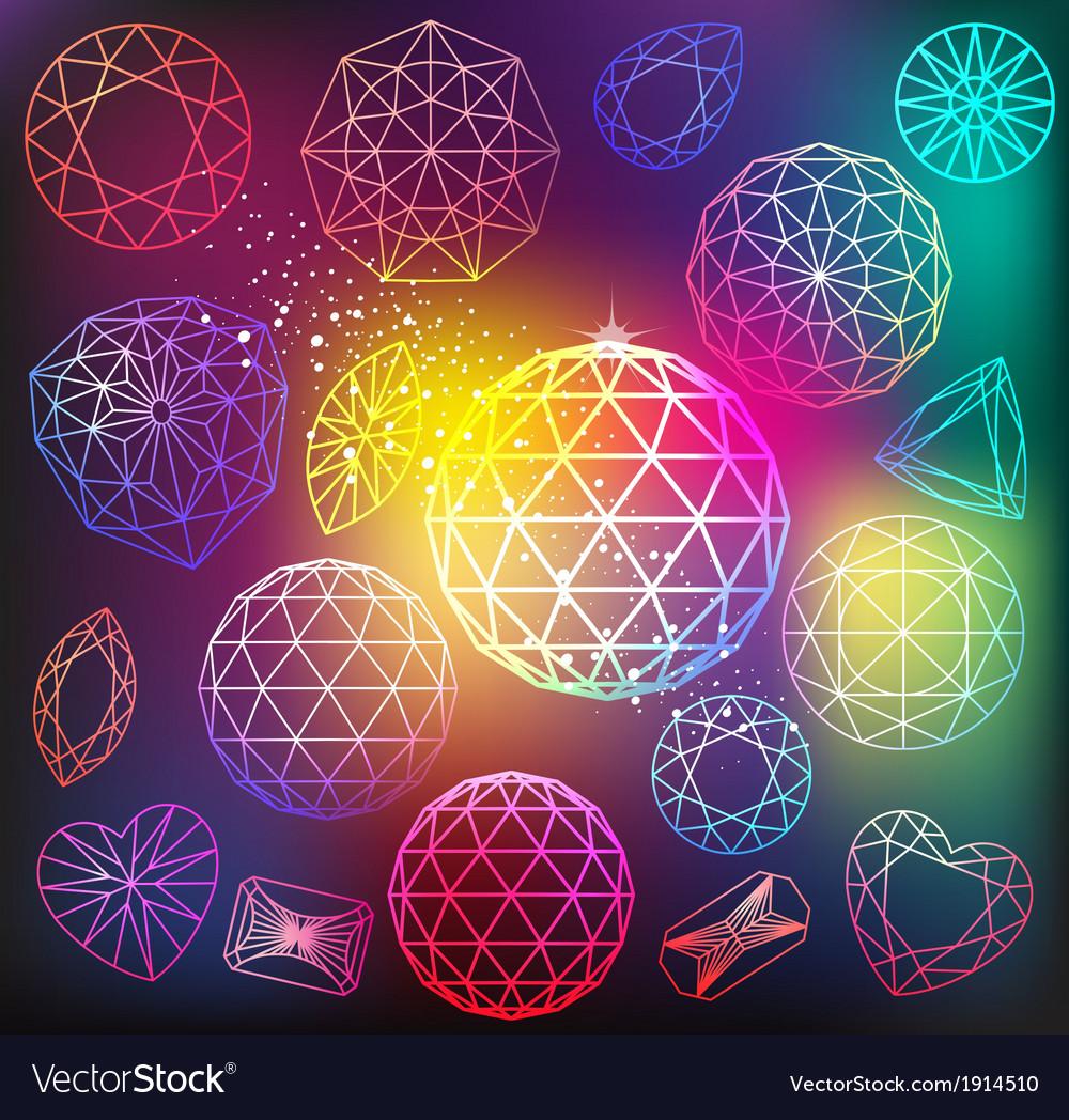 Linear diamonds cutting vector image