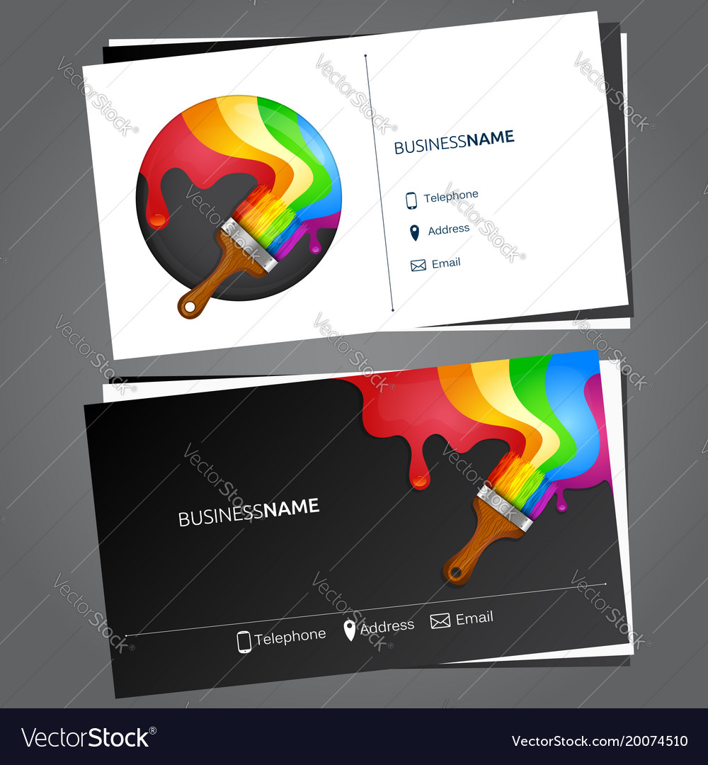 Painting business card Royalty Free Vector Image