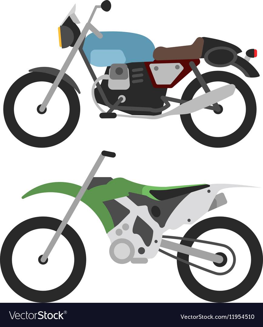 Retro motorcycle and motorcross bike isolated on