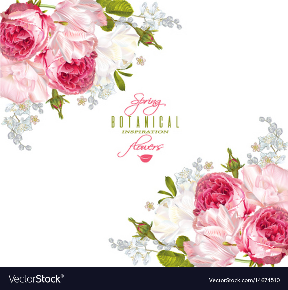 Romantic flowers corner banner