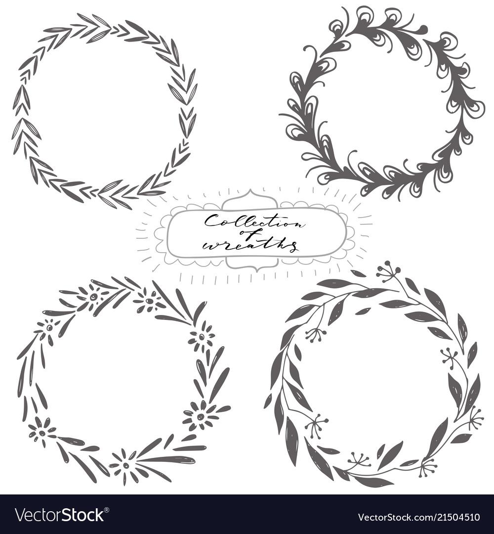 Set hand drawn wreaths