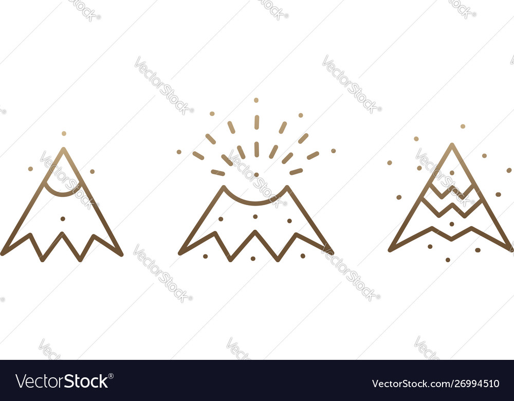 Set linear icons volcano