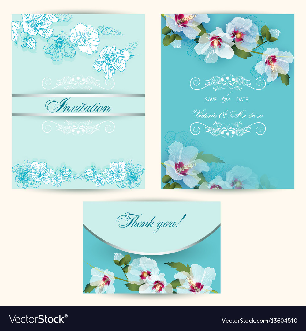 Set of invitation cards in turquoise
