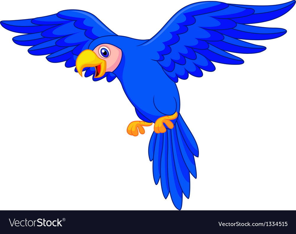 Blue parrot cartoon flying