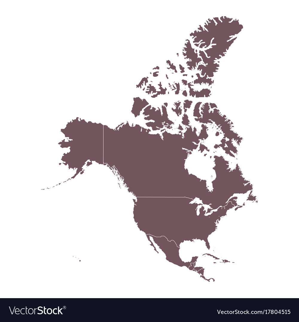 Detailed map north america continent