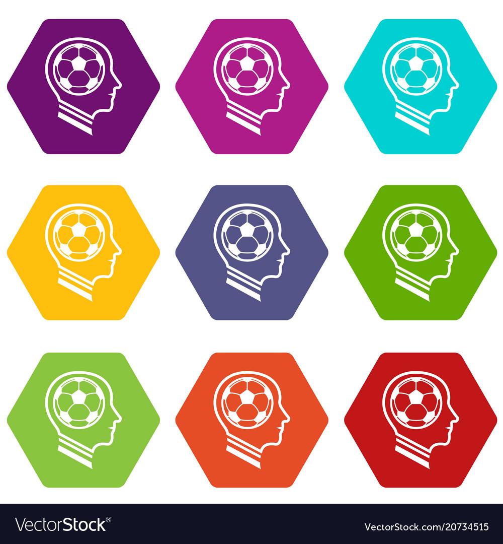 Football player icons set 9 vector image