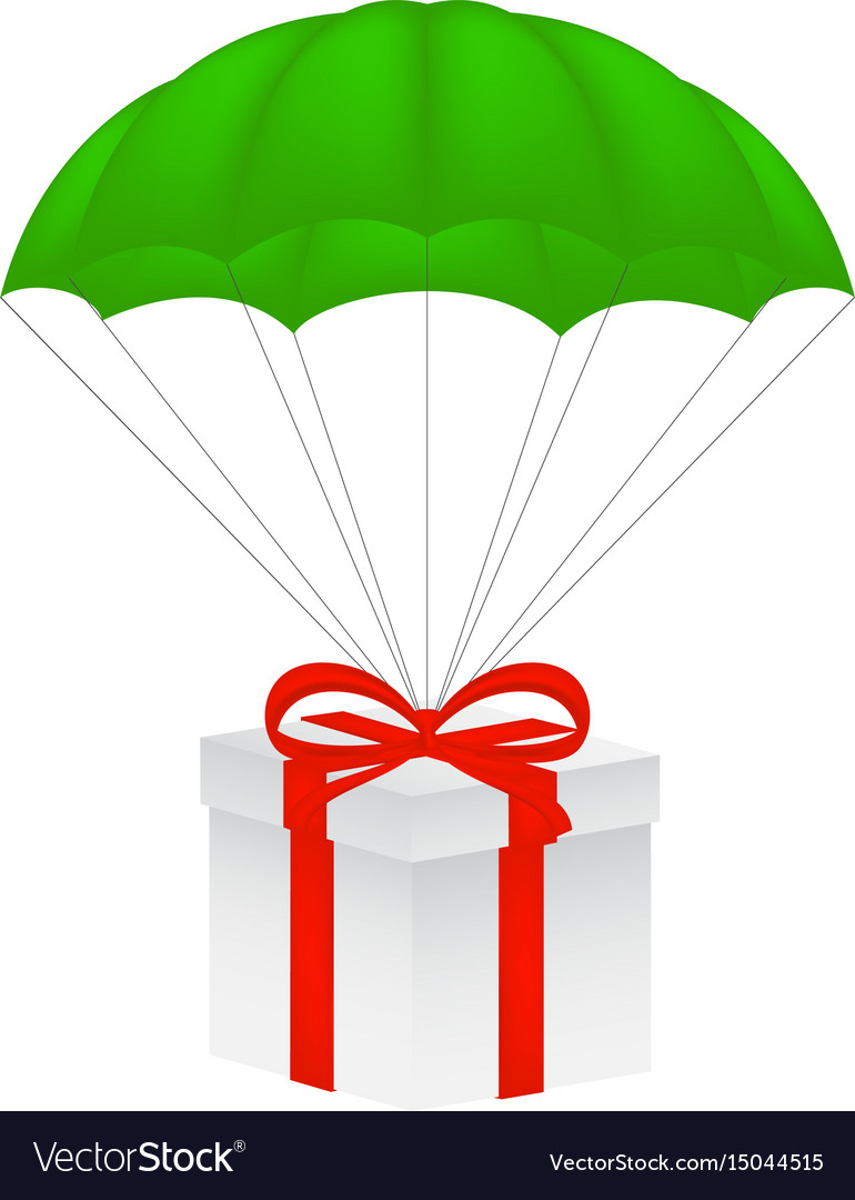 gift box at green parachute royalty free vector image rh vectorstock com parachute vector free download parachute vector image
