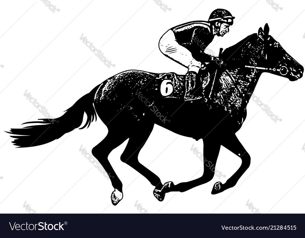 Jockey riding galloping race horse sketch
