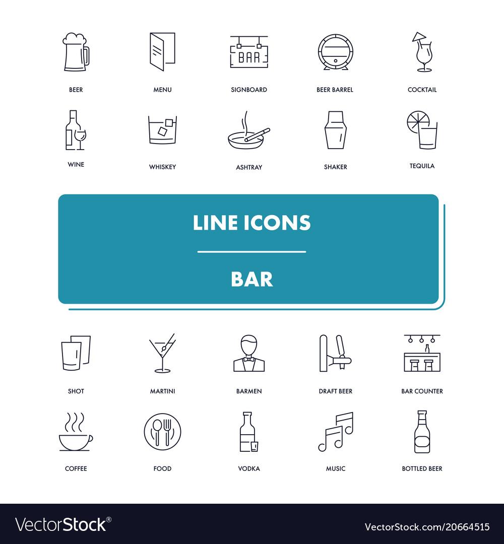 Line icons set bar vector image