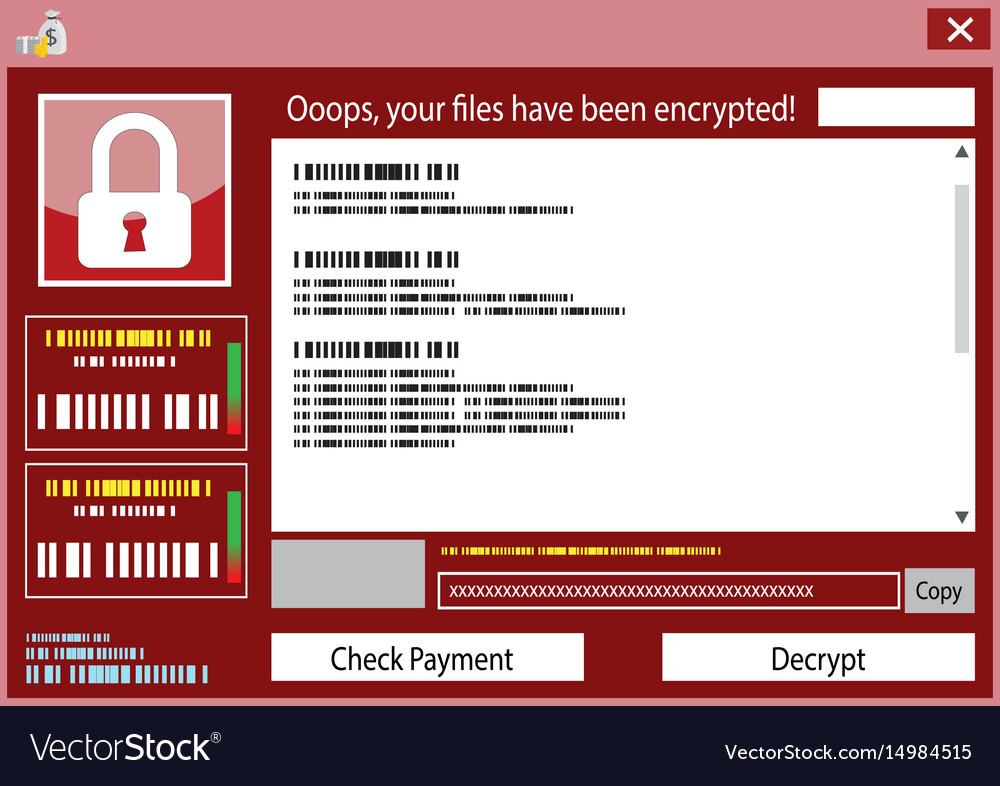 Malware wannacry ransomware virus encrypted