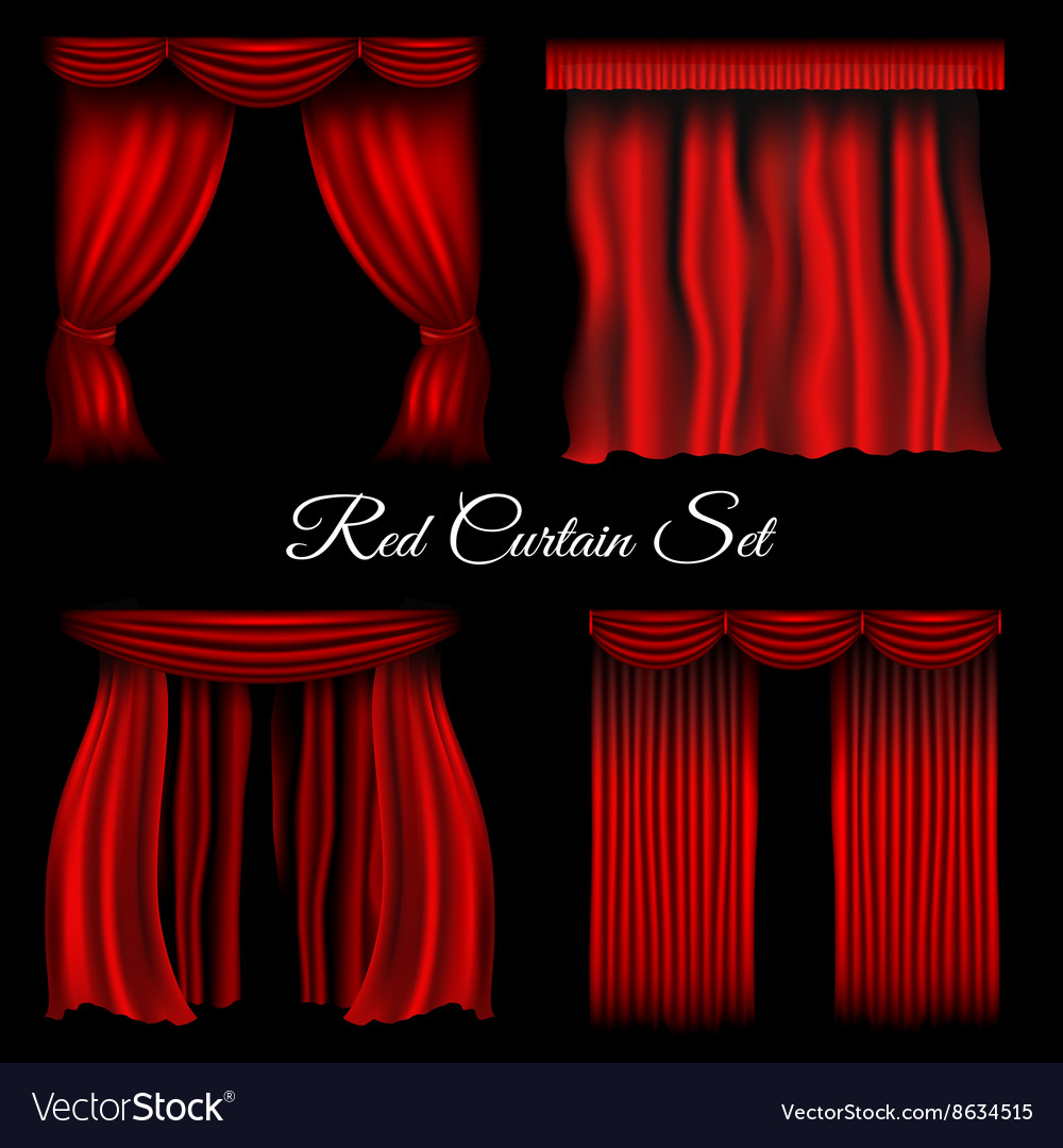 Red curtains on transparent background