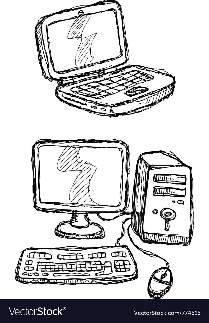 Scribble series - computers vector image