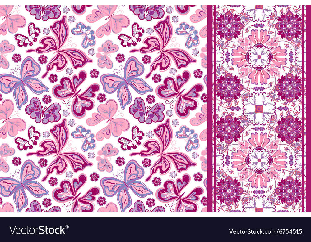 Seamless pattern with colorful vintage butterflies