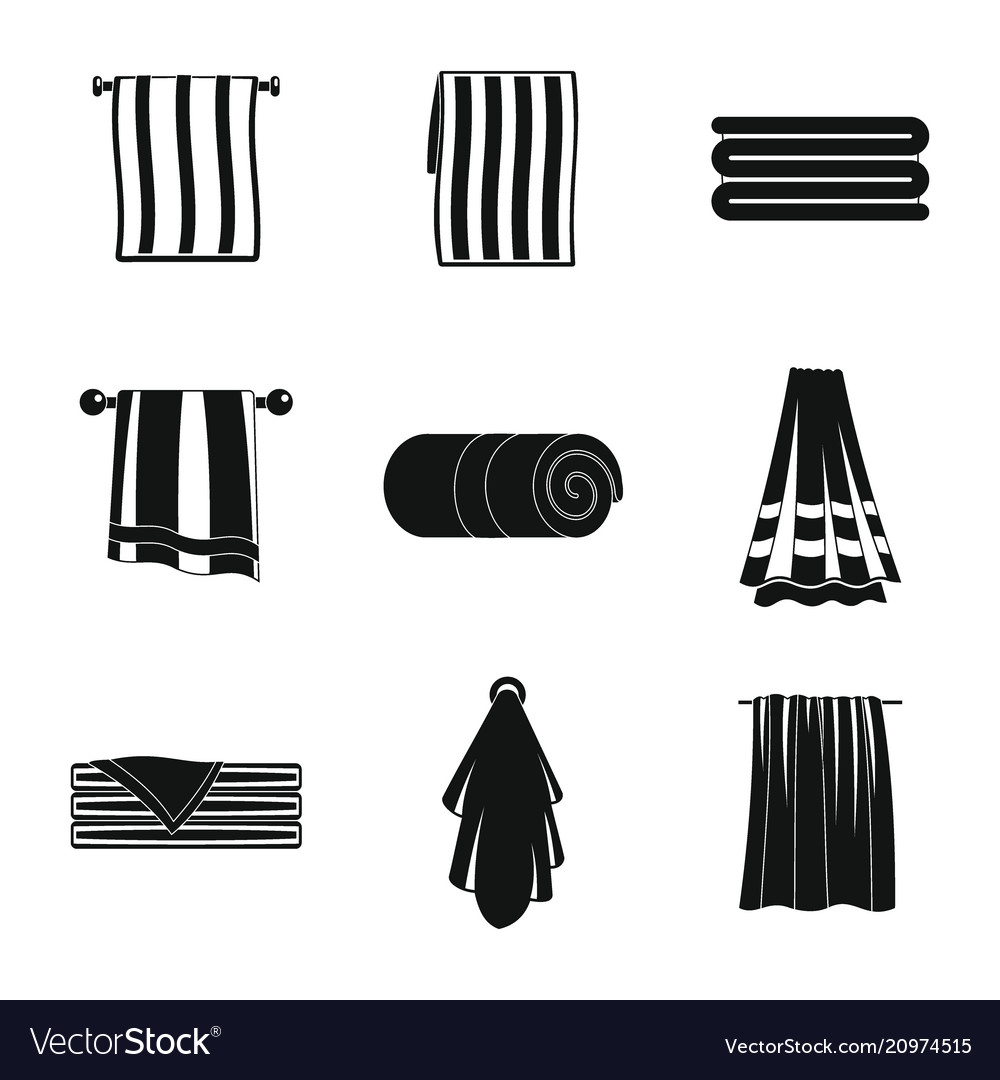 Towel hanging spa bath icons set simple style