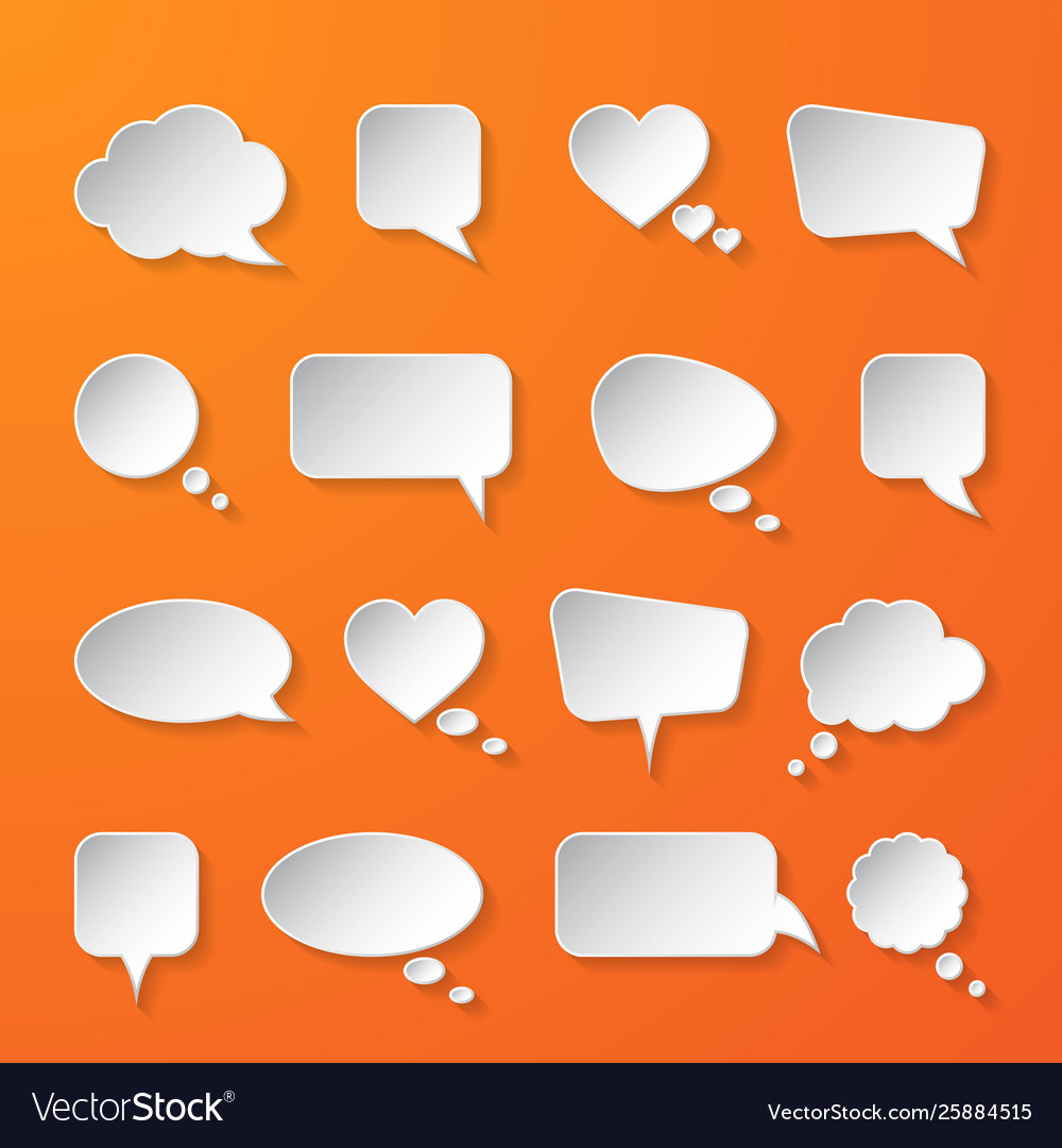 White paper speech bubbles on orange background