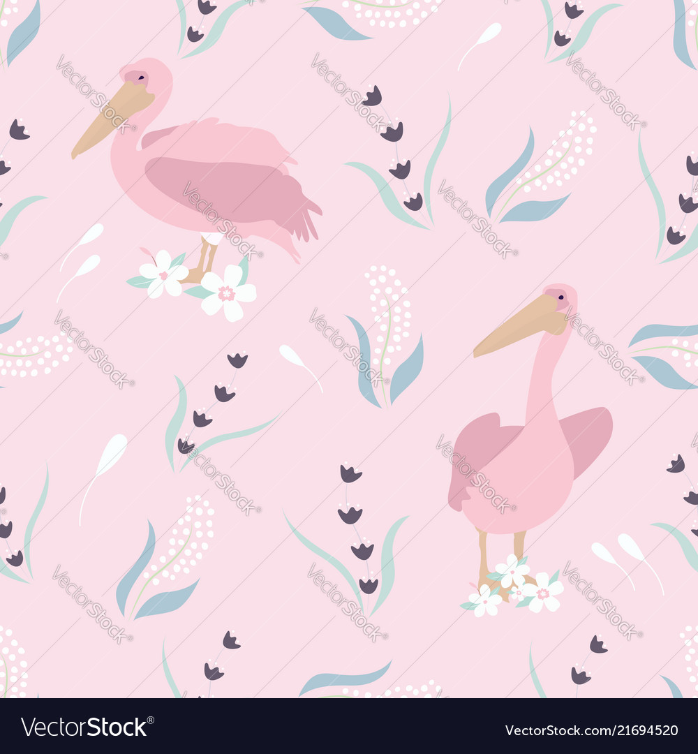 Beach tropical seamless pattern with pelicans